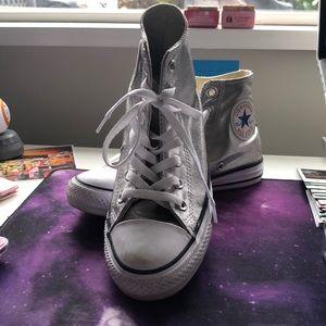 Converse Shoes - Silver Converse High Tops
